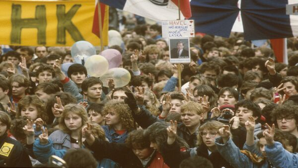 studenti na demonstraci 1989
