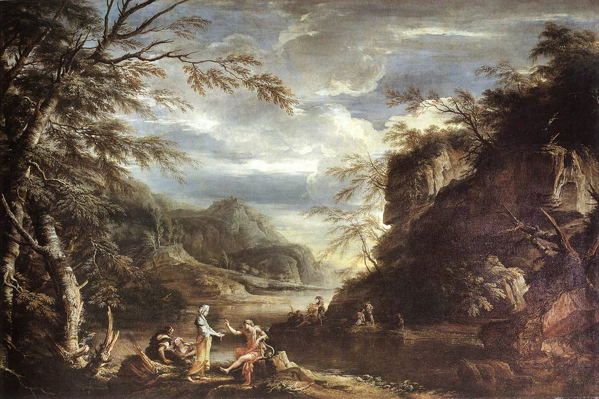 Salvator Rosa: River Landscape with Apollo and the Cumean Sibyl