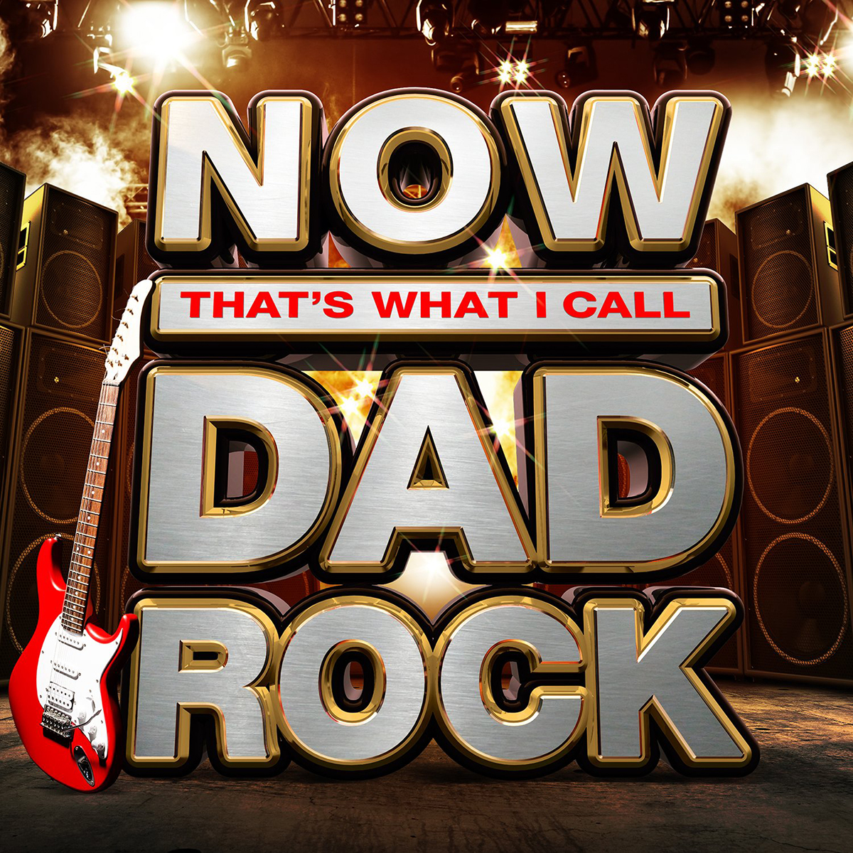 obrázek s kytarou a textem Now! That´s What I Call Dad Rock